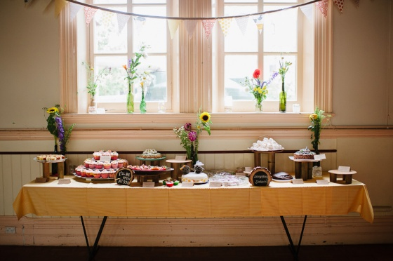 The cake table, bunting and jars all made with love.