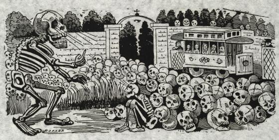 "Gran calavera eléctrica"" (Grand electric skull) by José Guadalupe Posada, 1900-1913."